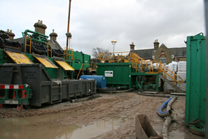 The reception site showing mud mixing and recycling facilities