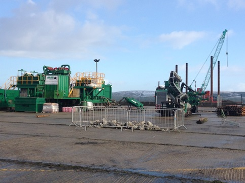 Site setup at Port Rodie including the Prime PD60/30 and mud recycling equipment