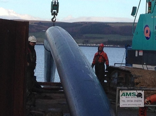 Pipeline positioned on the sea barge during installation