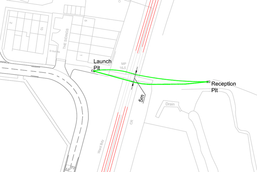 The above drawing shows the planned drill paths under the railway
